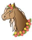 Beau cheval de baie avec une longue crinière Tête de cheval dans une guirlande des fleurs et des feuilles illustration libre de droits