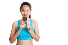 Beau chocolat asiatique sain d'amour de fille Photos libres de droits