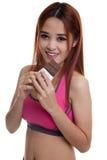 Beau chocolat asiatique sain d'amour de fille Images stock