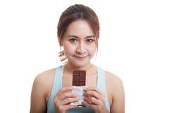 Beau chocolat asiatique sain d'amour de fille Image stock