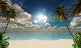 Beau ciel avec les nuages et le soleil au-dessus de la mer photographie stock libre de droits