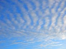 Beau ciel bleu avec les nuages rayés Image stock