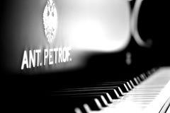 Beau clavier de piano avec le foyer sélectif B&W Photographie stock libre de droits