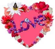 Beau coeur avec la légende faite de différentes fleurs Image stock
