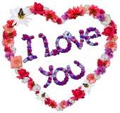 Beau coeur avec la légende faite de différentes fleurs Images libres de droits