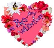 Beau coeur avec la légende faite de différentes fleurs sur b blanc Image stock