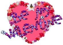 Beau coeur avec la légende faite de différentes fleurs sur b blanc Photos stock