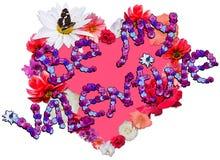Beau coeur avec la légende faite de différentes fleurs sur b blanc Image libre de droits