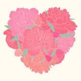 Beau coeur décoré par la pivoine de fleurs Je t'aime Images stock