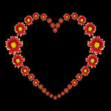 Beau coeur de fleur rouge et de texte d'amour d'isolement sur le noir Enregistré avec le chemin de coupure Image stock