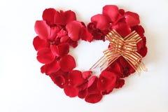 Beau coeur du noeud papillon rouge de pétales de rose d'isolement sur le blanc Images stock