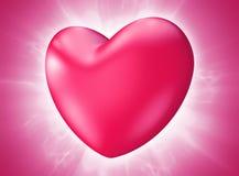 Beau coeur rose de Saint-Valentin éclatant avec passion Photos stock