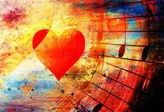 Beau collage avec des coeurs et des notes de musique, symbolizining l'amour en musique Images libres de droits