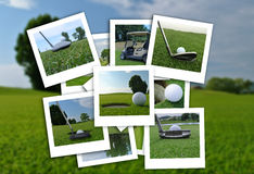 Beau collage des photos de golf dans le divers format Images stock