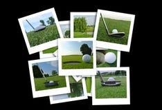 Beau collage des photos de golf dans le divers format Photo libre de droits