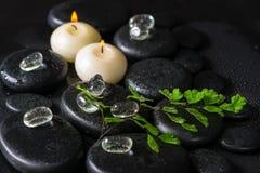 Beau concept de station thermale de fougère, de glace et de bougies vertes de brindille sur le zen Photographie stock