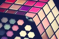 Beau cosmétique de lustre de fard à paupières et de lèvre Photographie stock