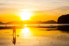 Beau coucher du soleil à la plage Image stock