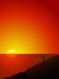 Beau coucher du soleil au-dessus de la mer Images libres de droits
