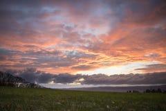 Beau coucher du soleil au-dessus de pré avec Mountain View Photo libre de droits
