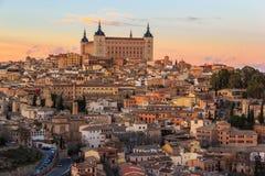 Beau coucher du soleil au-dessus de vieux Toledo Photos libres de droits