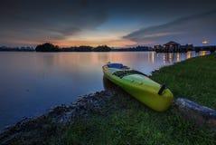 Beau coucher du soleil au marécage, Putrajaya Photo stock