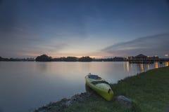 Beau coucher du soleil au marécage, Putrajaya Photographie stock libre de droits