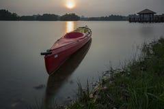 Beau coucher du soleil au marécage, Putrajaya Photos libres de droits