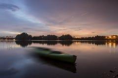 Beau coucher du soleil au marécage, Putrajaya Images libres de droits