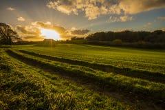 Beau coucher du soleil aux granges de Worsham en parc de campagne de vallée de Combe près de Bexhill dans le Sussex est, Angleter images stock