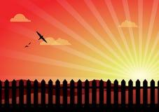Beau coucher du soleil avec la frontière de sécurité de piquet illustration libre de droits
