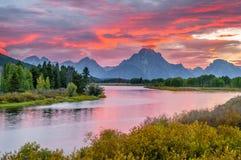 Beau coucher du soleil chez Grant Tetons Images libres de droits