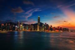 Beau coucher du soleil chez Victoria Harbour Images stock