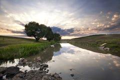 Beau coucher du soleil d'été Images libres de droits
