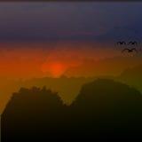 Beau coucher du soleil d'illustration de vecteur de soirée de paysage de montagne dans les montagnes Illustration de Vecteur