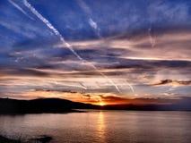Beau coucher du soleil dans Ahtopol Images stock