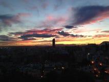Beau coucher du soleil dans Alicante Espagne image stock