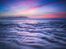 Beau coucher du soleil dans la plage Photographie stock