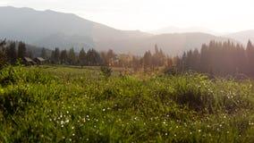 Beau coucher du soleil dans les montagnes roumaines photographie stock libre de droits