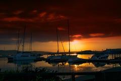 Beau coucher du soleil dans Sozopol Photo stock