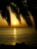 Beau coucher du soleil de Corse Image libre de droits