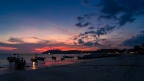 Beau coucher du soleil de paysage marin Image libre de droits