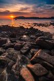 Beau coucher du soleil de paysage marin Photo libre de droits