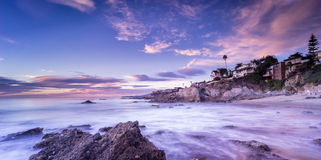 Beau coucher du soleil de plage en Californie photo stock