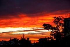 Beau coucher du soleil de ville Photos libres de droits