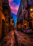 Beau coucher du soleil en Bari Old Town Photo stock