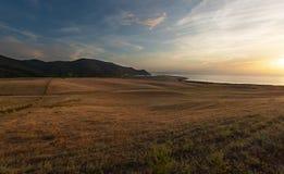 Beau coucher du soleil en Capo-Di-Feno près des Frances d'Ajaccio - de la Corse photos libres de droits