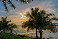 Beau coucher du soleil en plage tropicale Image stock
