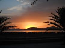 Beau coucher du soleil en Sardaigne Image libre de droits