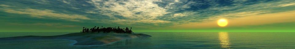 Beau coucher du soleil, nuages et soleil de mer au-dessus de l'eau Photo libre de droits